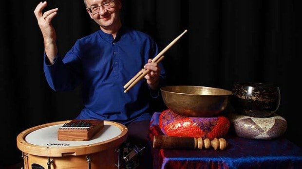 David Jones plays 35 percussion instruments. Photo: Rebecca Hallas