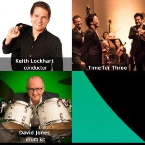 Time for Three, and conductor Keith Lockhart.